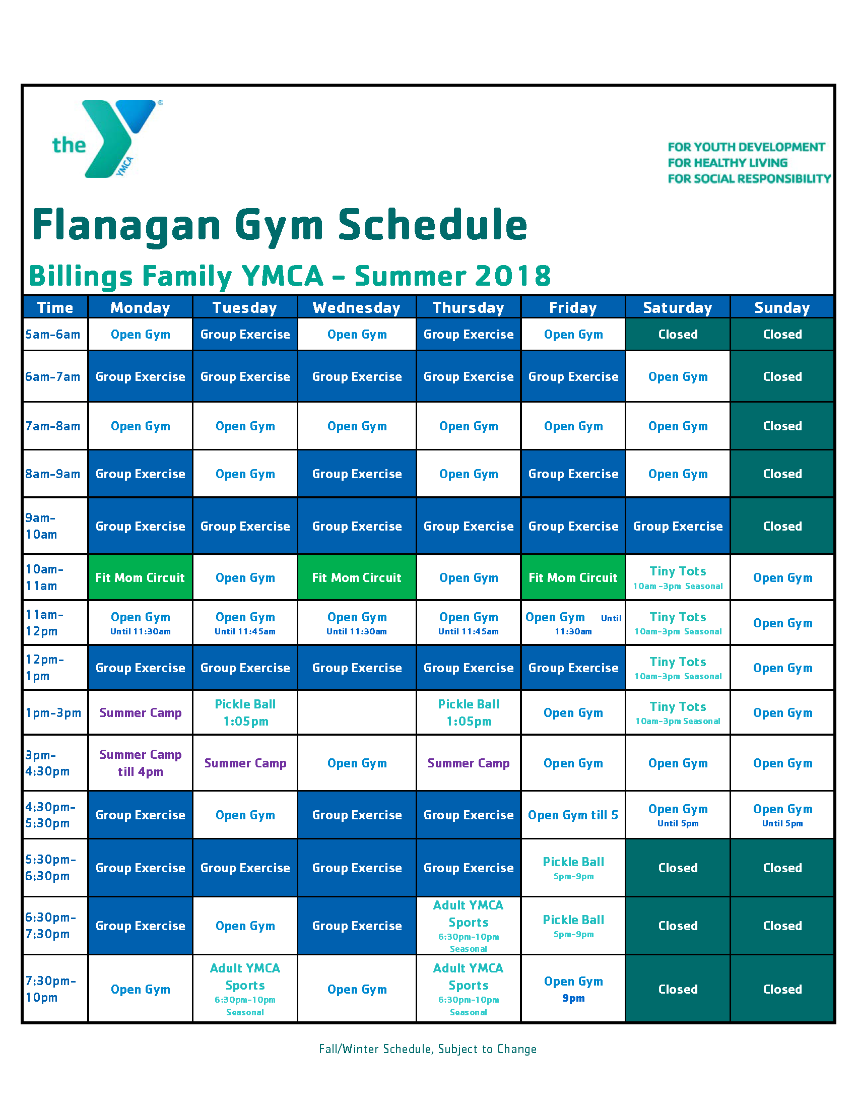 FLANAGAN GYM SCHEDULE