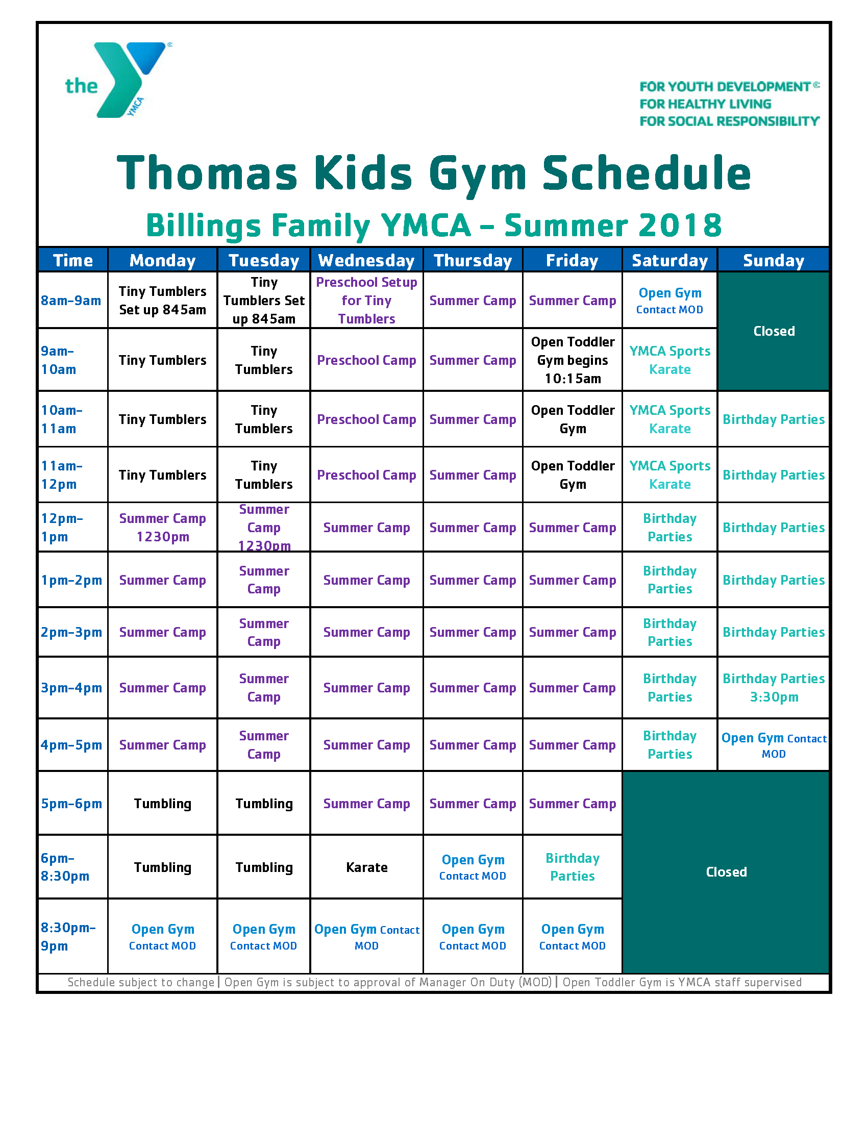 TKG GYM SCHEDULE